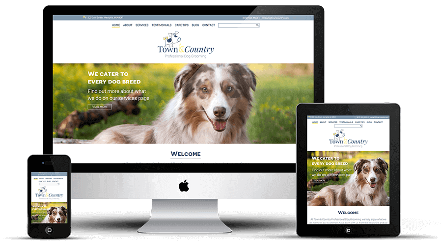 Town and Country Professional Dog Grooming responsive website